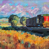 Rolling on  Acrylic 24x48x1.5  2020  by Brian  Buckrell