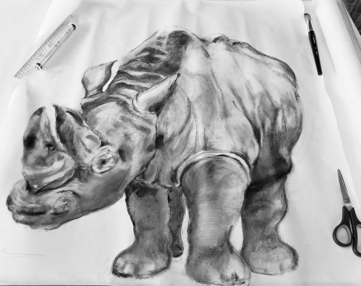 (c) 2020 Lully Schwartz 'R is for Rhino' Graphite on Vellum 36 x 36 inches by Lully Schwartz