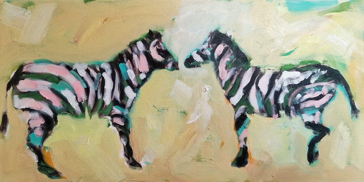 (c) 2020 Lully Schwartz 'Z is for Zebra' oil on linen 10 x 20 inches by Lully Schwartz