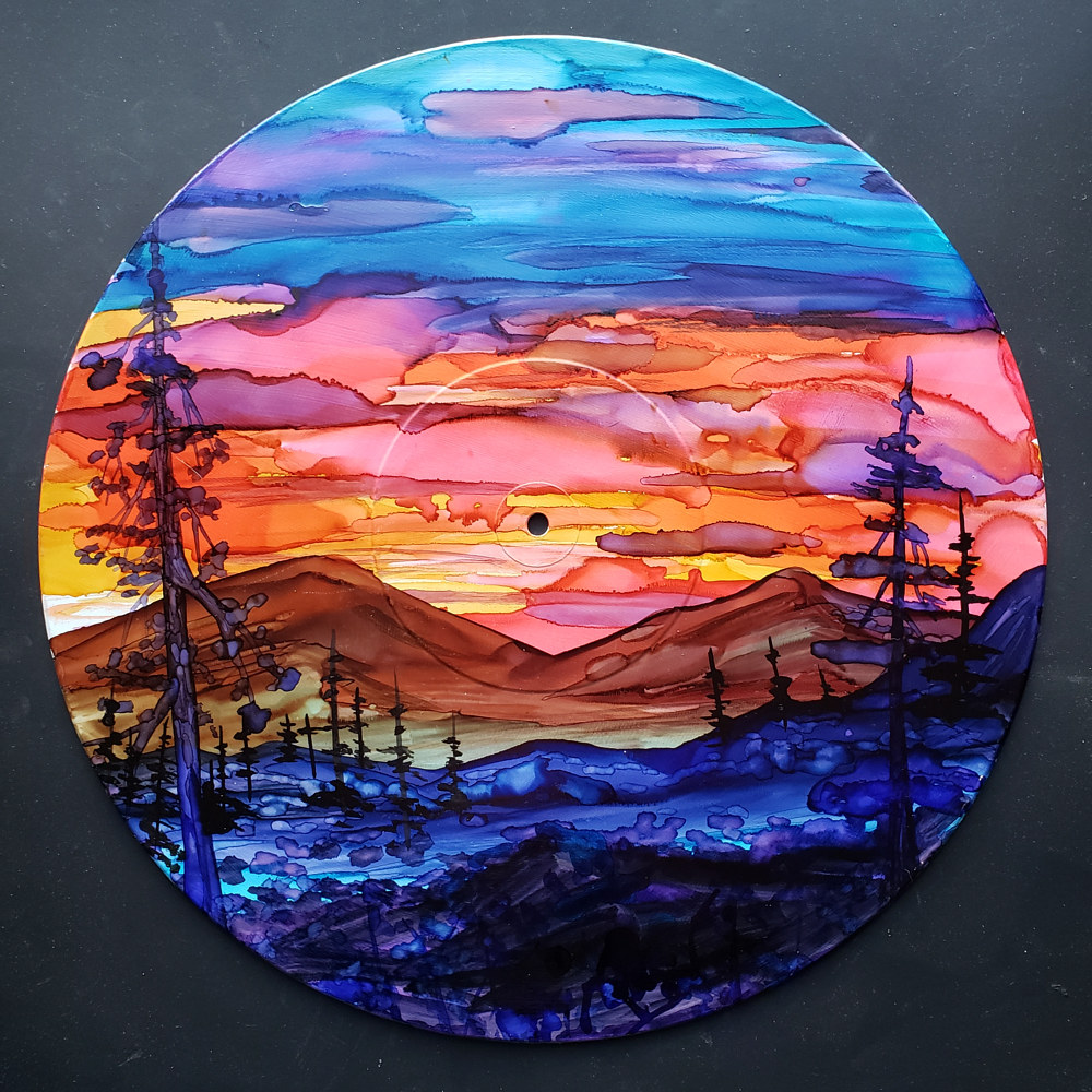 Alcohol Ink Painting on Vinyl Record  by Isaac Carpenter