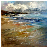 PEMBROKESHIRE GLEAMING, 60x60cm, oil on canvas by Anne Farrall Doyle
