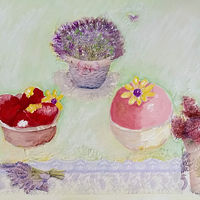Acrylic painting Two Elaborate Tarts by Gwenda Branjerdporn