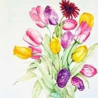 Watercolor Mostly Tulips by Gwenda Branjerdporn
