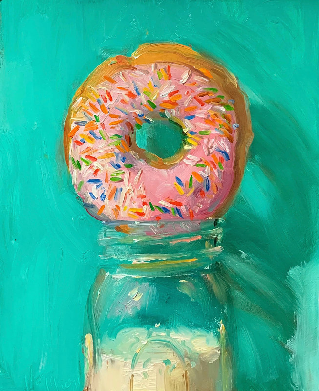 """Donut w/Sprinkles (Pink & Turquoise)""  by Noah Verrier"