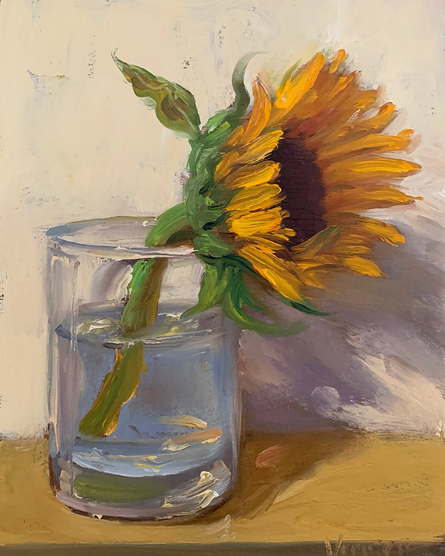 """Sunflower in a Glass""  by Noah Verrier"