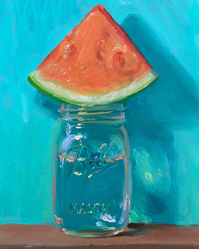 """Watermelon & Jar of Water (Turqoise)"" by Noah Verrier"