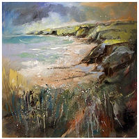 CLIFFTOP WALK, 60x60cm, oil on canvas by Anne Farrall Doyle