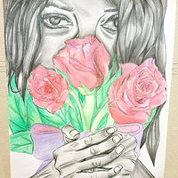 Drawing Lady Behind the Roses  by Matt Kantor