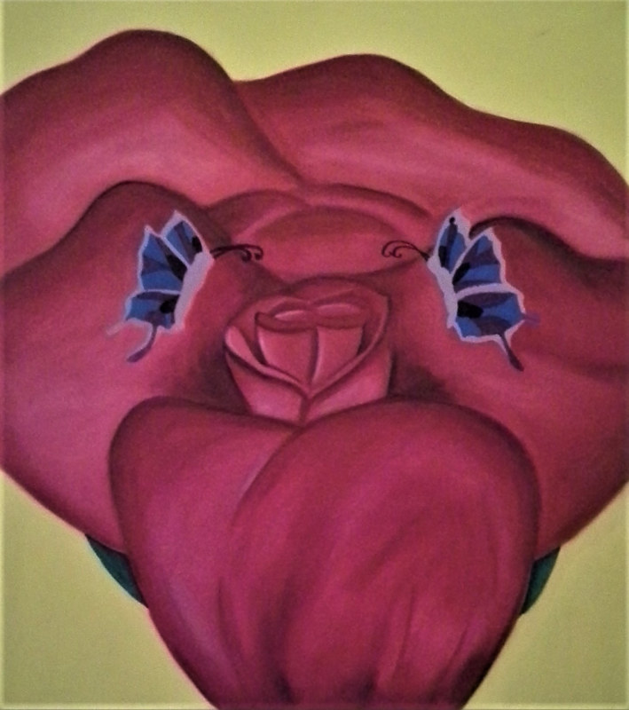 Oil painting Two Butterflies with Rose by Matt Kantor