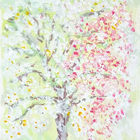 Acrylic painting Frangipani and Variegated Bouganvillea by Gwenda Branjerdporn
