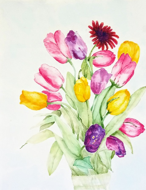 Painting Mostly Tulips by Gwenda Branjerdporn