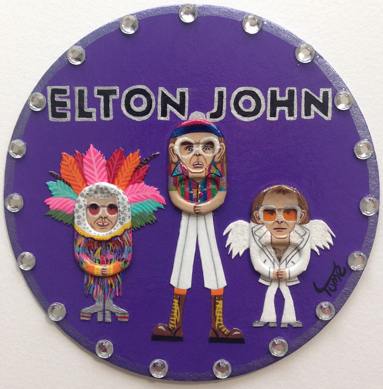 Acrylic painting Elton John Coaster Art by Yumi Knight