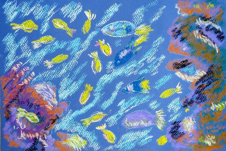 Painting Fish at Barcelona Spain by Gwenda Branjerdporn