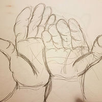 Drawing Hands Holding Out - Sketch by Matt Kantor