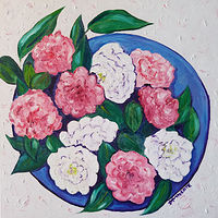 Oil painting Barbara's Camellias by Michelle Marcotte