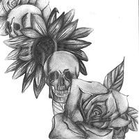 Skulls, Roses, and Sunflower by Matt Kantor