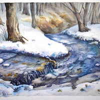 Watercolor Creek After Snow by Lisa  Baechtle