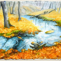 Watercolor Creek Before Snow by Lisa  Baechtle