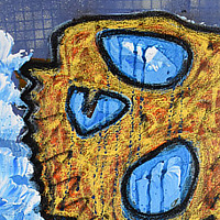 "Acrylic painting 7.  Motivated (""I'm a searchlight soul, they say, but I can't see it in the night."") by Sebastian Evans"