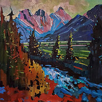 Three Sisters Evening 24x24 2020 by Brian  Buckrell