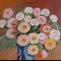 Oil painting Gerberas and Carnations by Gwenda Branjerdporn