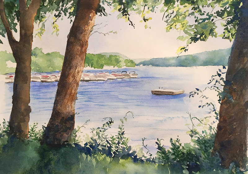 Watercolor New Fairfield Town Park by Betty Ann  Medeiros
