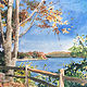 Watercolor New Fairfield Town Marina by Elizabeth4361 Medeiros