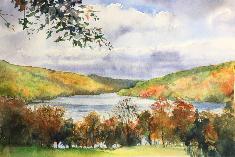 Watercolor Squantz Pond Fall Colors by Betty Ann  Medeiros
