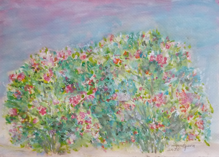 Acrylic painting Two Rose Bushes by Gwenda Branjerdporn