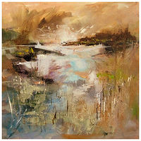 Mixed-media artwork SWIRLING EVENING by Anne Farrall Doyle