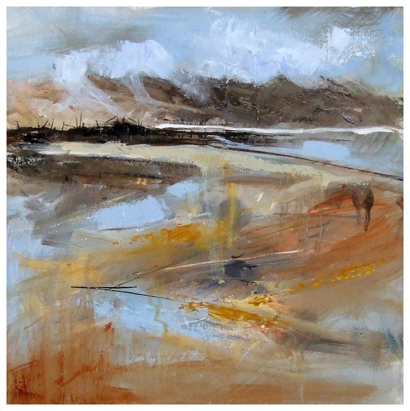Mixed-media artwork SUNLIGHT REFLECTIONS. by Anne Farrall Doyle