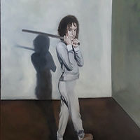 Oil painting Gianna holding the ruler by Timothy Innamorato