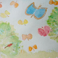 Painting Butterflies in the garden and the King Parrot by Gwenda Branjerdporn