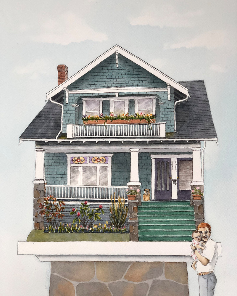 Watercolor Jory and Rachel's House by Jane Crosby