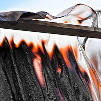 """Scorched Vinyl Curtain, Schrebergarten Blaze"" by Hunter Madsen"