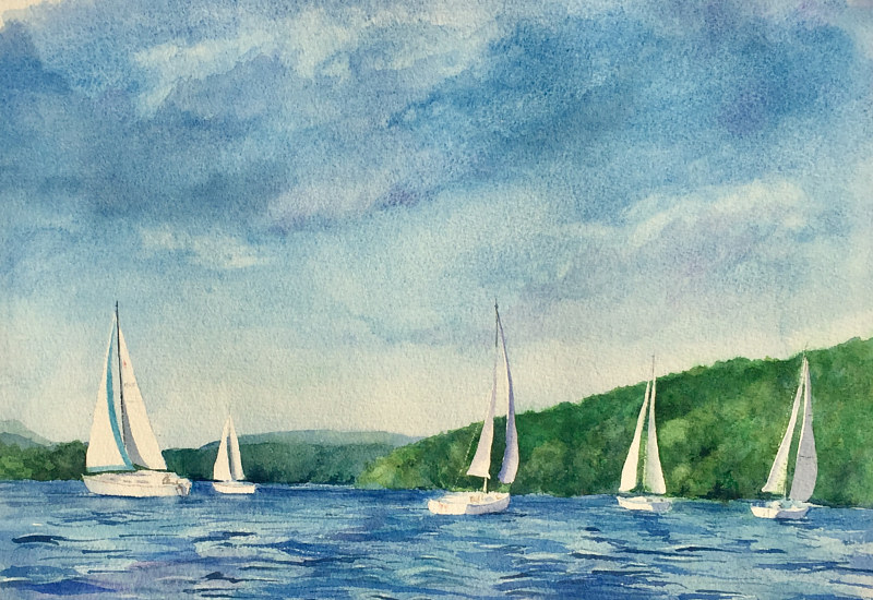 Watercolor Sailing on Candlewood Lake by Betty Ann  Medeiros