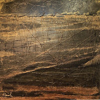 Oil painting AFTER FALLEN BLACK STORM gianneschi_patricia_rain  30 in X 30 in oil:mixed media by Patricia Rain Gianneschi