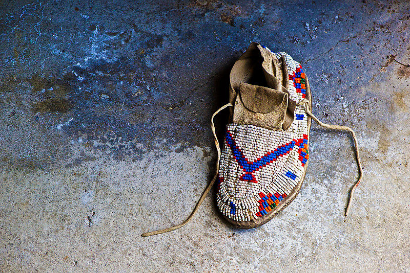 """Child's Burial Moccasin, 19th Century, Found With Other Artifacts in Cave"" by Hunter Madsen"
