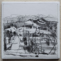 Drawing Ski Hill from Afar  by Harry Stooshinoff