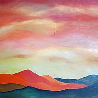 Oil painting Orange hills by Ruby Lindner