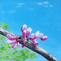 "Oil painting ""Redbud Love"" (Spring Redbud Series) by Anne French"