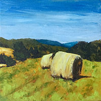 "Oil painting ""Harvest Hay Bales"" by Anne French"
