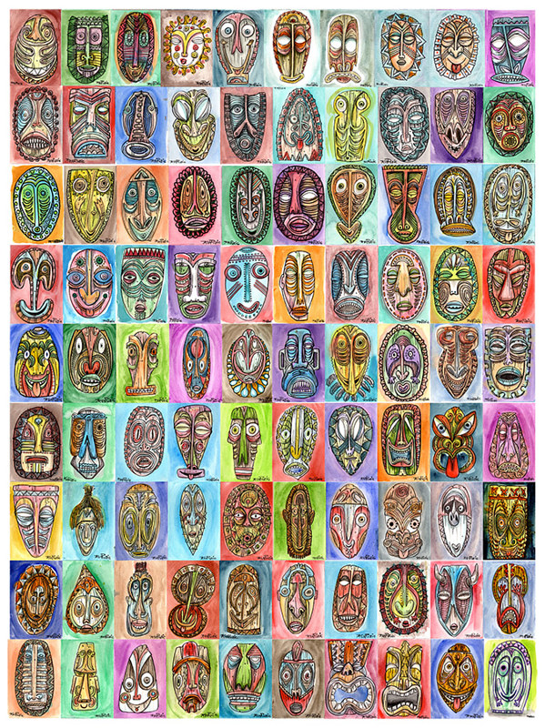 Watercolor 90 Tikis.... All of them by Kenneth M Ruzic