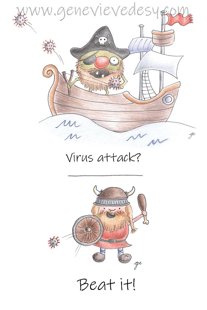 Drawing Virus attack funny drawing by Genevieve Desy
