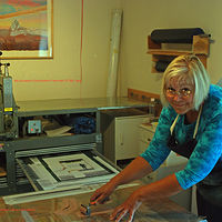 Print Cathie in home studio  by Cathie Crawford