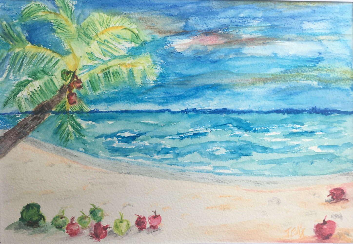 Watercolor Apple Beach by Jasmine Calix
