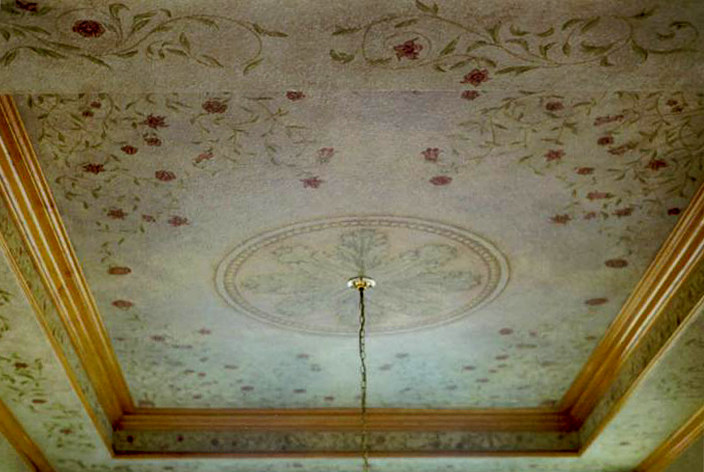 Anaheim Hills Hand painted Floral Dining Room Ceiling by Robert Milling