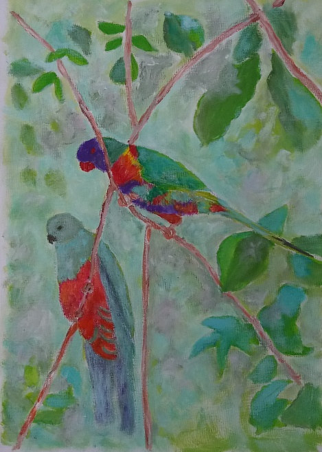 Acrylic painting Rainbow Lorikeet and Baby Australian King Parrot by Gwenda Branjerdporn