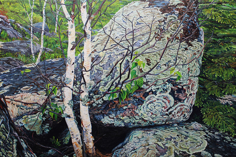 Oil painting Twin Birches, Kennedy Lake Boulder Fields by Michael McEwing