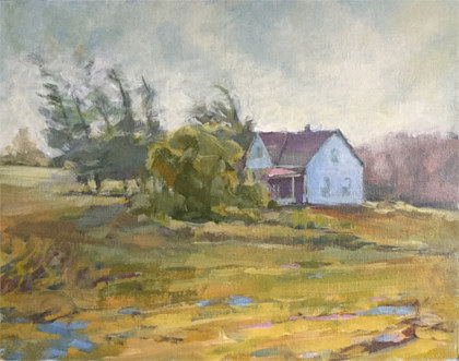 Acrylic painting Nova Scotia Farmhouse by Bernard Dick